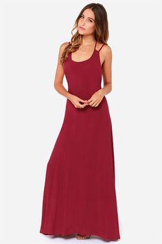 Sexy Burgundy Dress - Maxi Dress - Backless Dress - $48.00