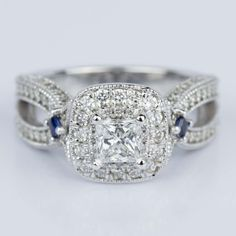Our Custom Diamond and Sapphire Princess Halo Engagement Ring.