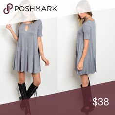 Gray Keyhole Short Sleeve T-Shirt Tunic Dress New with tags. Keyhole flowy shirt dress.                                                   🌸95% rayon, 5% spandex.                                                                                                                                      ❌SORRY, NO TRADES. The O Boutique Dresses Mini