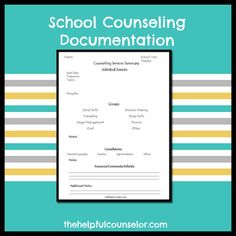 School Counseling Documentation Form #schoolcounseling