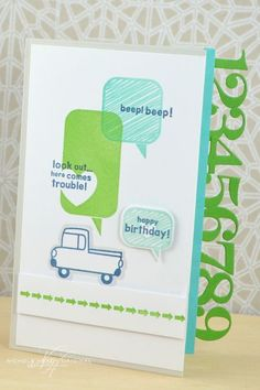 Beep Beep Birthday Card by Nichole Heady for Papertrey Ink (August 2013)