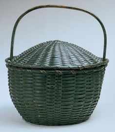 Shaker green painted basket, New Lebanon NY c.1830