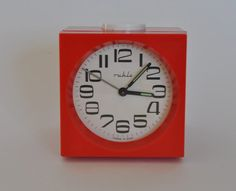 Vintage German mechanical alarm clock from Ruhla.  Red.  East Germany.  Made in former GDR.