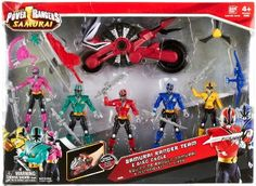 Amazon.com: Power Rangers Samurai Action Figure 5Pack Samurai Ranger Team Disc Cycle Blue, Pink , Red, Yellow Green: Toys & Games