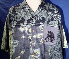 TOMMY BAHAMA Button Front Men's 2XL Floral Geometric SS Blues Greens Silk Shirt  #TommyBahama #ButtonFront