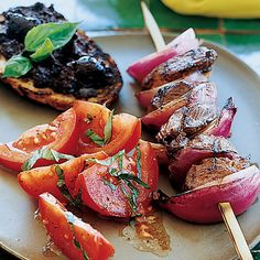 Grilled lamb recipes include grilled lamb chops with roasted garlic and juicy lamb burgers. Plus more grilled lamb recipes. Lamb Recipes, Wine Recipes, Lamb Skewers, Kabobs, Grilling Recipes, Cooking Recipes, Roast Rack Of Lamb, Grilled Lamb Chops, Lamb Burgers