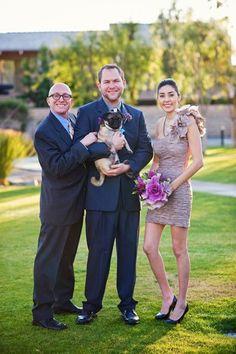 Purple wedding with pug dog ring bearer.  Equally Wed