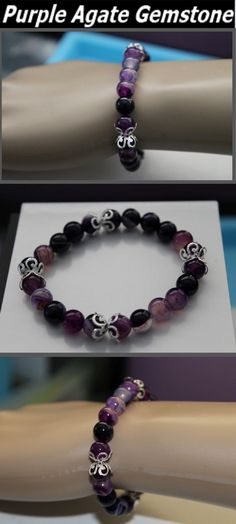 This bracelet consists of 8mm Purple striped Agate Gemstone Beads complemented with silver plated flower basket caps. It is a beautiful stylish bracelet set in an elastic stretch design for adjustable wear. See more at accessoriestreasu... or contact us at info@accessoriestreasurehunt.com