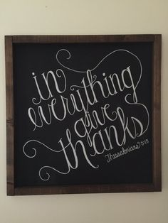 In Everything Give Thanks Chalkboard Wall Decor
