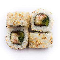 Uramaki z tilapią w tempurze Tilapia, Sashimi, Menu, Ethnic Recipes, Food, Menu Board Design, Essen, Yemek, Menu Cards