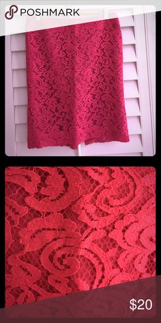 Day to night pink lace skirt Flattering pink lace skirt. Throw on a blazer and change up your typical work outfit! Perfect day to night piece! Perfect condition. Worn two times Merona Skirts
