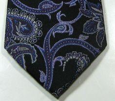 FORSYTH OF CANADA Rich Purple Black Paisley 100% Silk RARE Tie #forsythofcanada #NeckTie