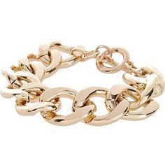 Gold tone chunky curb chain bracelet at RI  $16