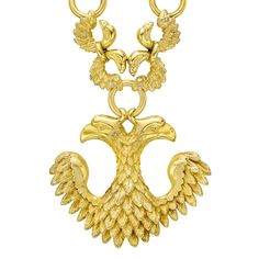 Van Cleef & Arpels 18k Gold Double Eagle Pendant Chain Necklace – Large double eagle & wing motif pendant in 18k yellow gold, suspended fro...