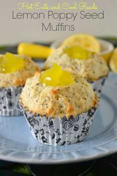 Lemon Poppy Seed Muffins with Lemon Filling from Hot Eats and Cool Reads! #breakfast