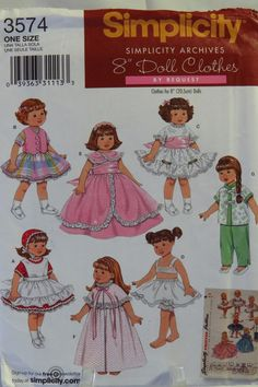 "Simplicity 3574 8"" Fashion Doll Clothes"