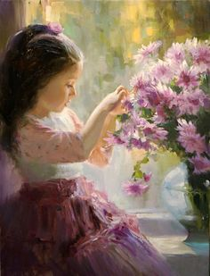 Huge Oil painting beautiful little girl with spring flowers on ...