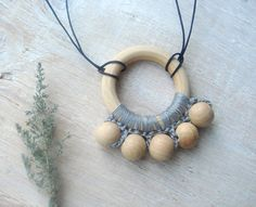 Nursing necklace with teething ring Grey by MiracleFromThreads, $12.90