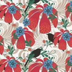 Papier peint jungle rouge Kastanjetrast - hookedonwalls - Au fil des Couleurs