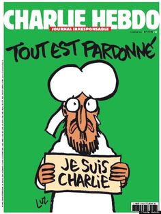 """Charlie Hebdo revealed their cover image for this week's issue, printed just days after two gunmen opened fire on the newspaper's Paris office on January 7, 2015, killing 12 people. Four of the Charlie's cartoonists were killed in the attack. The cover shows the Prophet Muhammad holding a """"Je Suis Charlie"""" sign with the caption, """"Tout est pardonné"""" (""""All is forgiven"""")."""