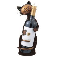 Cat Wine Bottle Holder - Gifts, Clothing, Jewelry, Home Decor and Home Furnishings as Featured in Popular Catalogs   Catalog Favorites