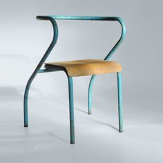 Jacques Hitier; Painted Tubular Iron and Bent Plywood Stacking Chair for Mobilor, 1950s.
