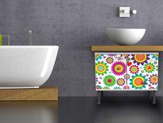 Zauberhafter Badschrank mit Motiv Bunte Kreise von banjado via dawanda.com