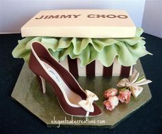Designer Shoe Box Cake by Elegant Cake Creations AZ Shoe Box Cake, Shoe Cakes, Cupcake Cakes, Purse Cakes, Unique Cakes, Elegant Cakes, Creative Cakes, Pretty Cakes, Beautiful Cakes
