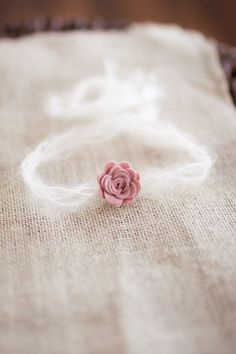 Merino Wool Pink Flower and Mohair Newborn Halo Headband, Small Neutral Flower Baby Halo