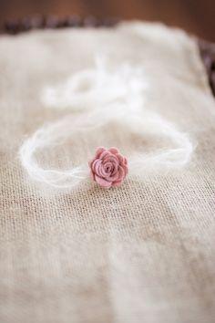 Merino Wool Pink Flower and Mohair Newborn Halo Headband, Small Neutral Flower Baby Halo
