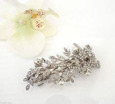 Vintage victorian style crystal pearl silver tone barrette hair clip Bridal Prom