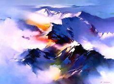Китайский художник H. Leung. Красивый пейзаж маслом двадцать восьмой