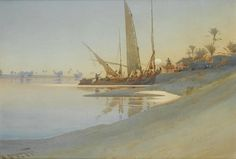 Augustus Osborne Lamplough (1877 — 1930, UK) Sunset over the river Nile. 1903 watercolour.49.5 x 71 cm. (19½ x 28 in.)