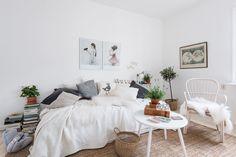 Small white studio apartment