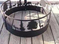 Wildlife Scene Moose Bear Dear Campfire Fire pit ring. CNC Plasma Cut from 10GA gauge steel.