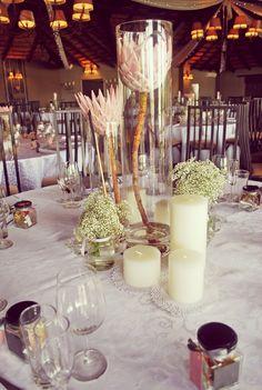 Protea centerpieces Protea Wedding, Wedding Table Flowers, Wedding Reception Decorations, Wedding Centerpieces, Protea Centerpiece, Simple Centerpieces, Mario Bros, Kings Table, Traditional Wedding Decor