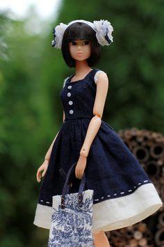 Dark blue Linen Dress sleeveless Dress for Momoko doll by elenpriv, $16.00