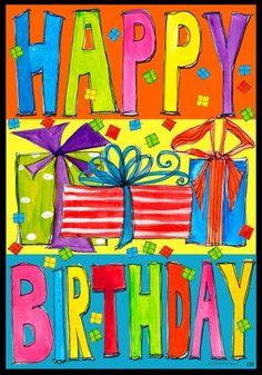 Happy Birthday Presents Large House Flag 28 x 40 Custom D...