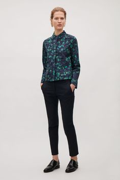 COS image 4 of Printed shirt with pockets in Grass Green