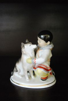 Vintage Porcelain Collectible Lomonosov USSR. Eskimo boy & Alaskan Malamute