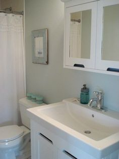 Sherwin Williams SEA SALT. Its a sooo subtle grayed down blue green delicious color.