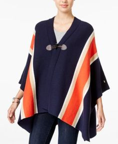 TOMMY HILFIGER Tommy Hilfiger Striped Cape, Only at Macy's. #tommyhilfiger #cloth # sweaters