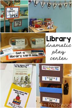 "Your children can read their favorite books, be librarians at storytime, and even check out books with their own cards in the ""Library Dramatic Play"" center. via /PlayToLearnPS/ Dramatic Play Themes, Dramatic Play Area, Dramatic Play Centers, Preschool Dramatic Play, Play Based Learning, Learning Through Play, Learning Centers, Role Play Areas, Library Themes"