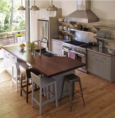 Like this kitchen size and layout, but not sure if we'd want an island that big AND a dining table nearby...