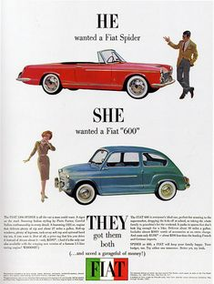 1960s Advertising - Magazine Ad - Fiat Spider & 600 (USA) by Pink Ponk, via Flickr
