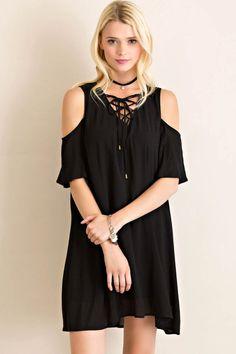 Open Shoulder Lace-Up Dress