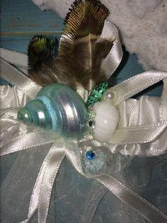 Chic Wedding White Satin or Lace BEACH WEDDING SEASHELL GARTERs  *Choice