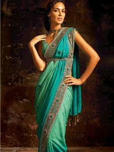 Sea blue peacock sari