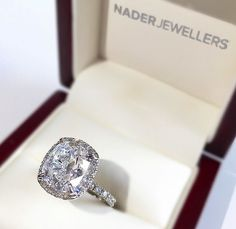 Nader Jewellers Cushion Cut Engagement Ring with Diamond Halo. Amaze !!