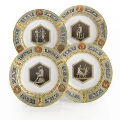 A Set of Four Russian Porcelain Soup Plates from the Raphael Service, Imperial Porcelain Manufactory, St. Petersburg, Period of Alexander III (1881-1894) - Sotheby's